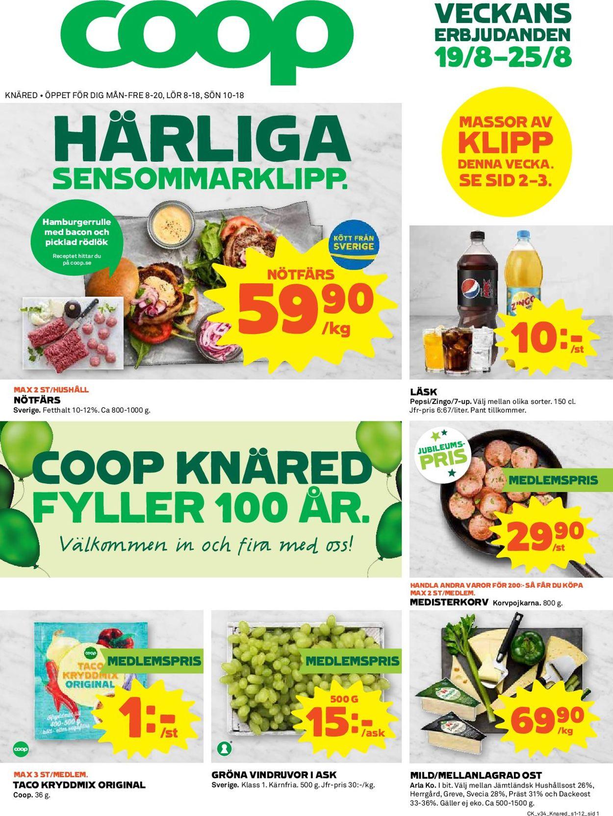 Reklamblad Coop från 19/08-2019