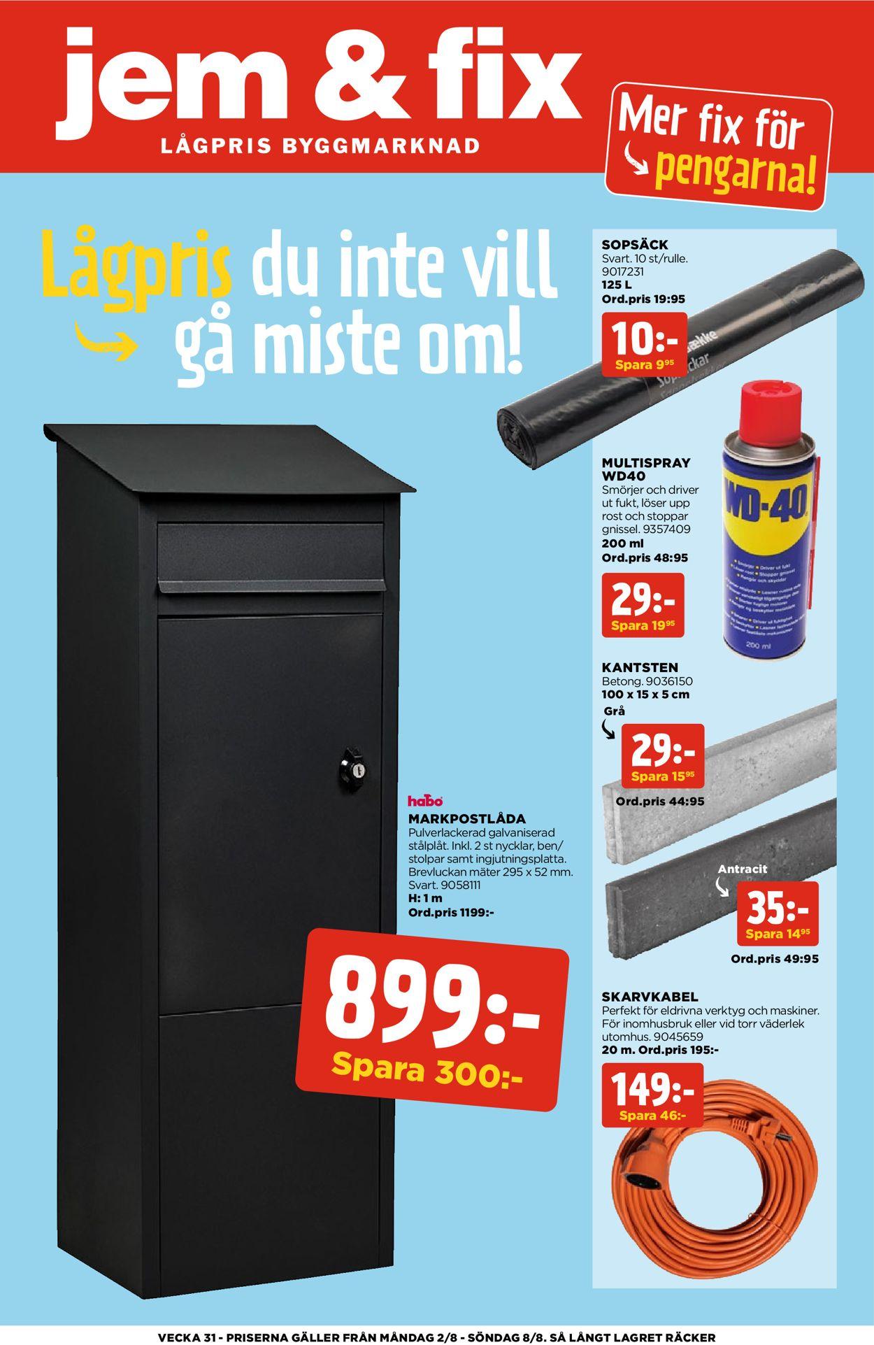 Reklamblad Jem & Fix från 02/08-2021