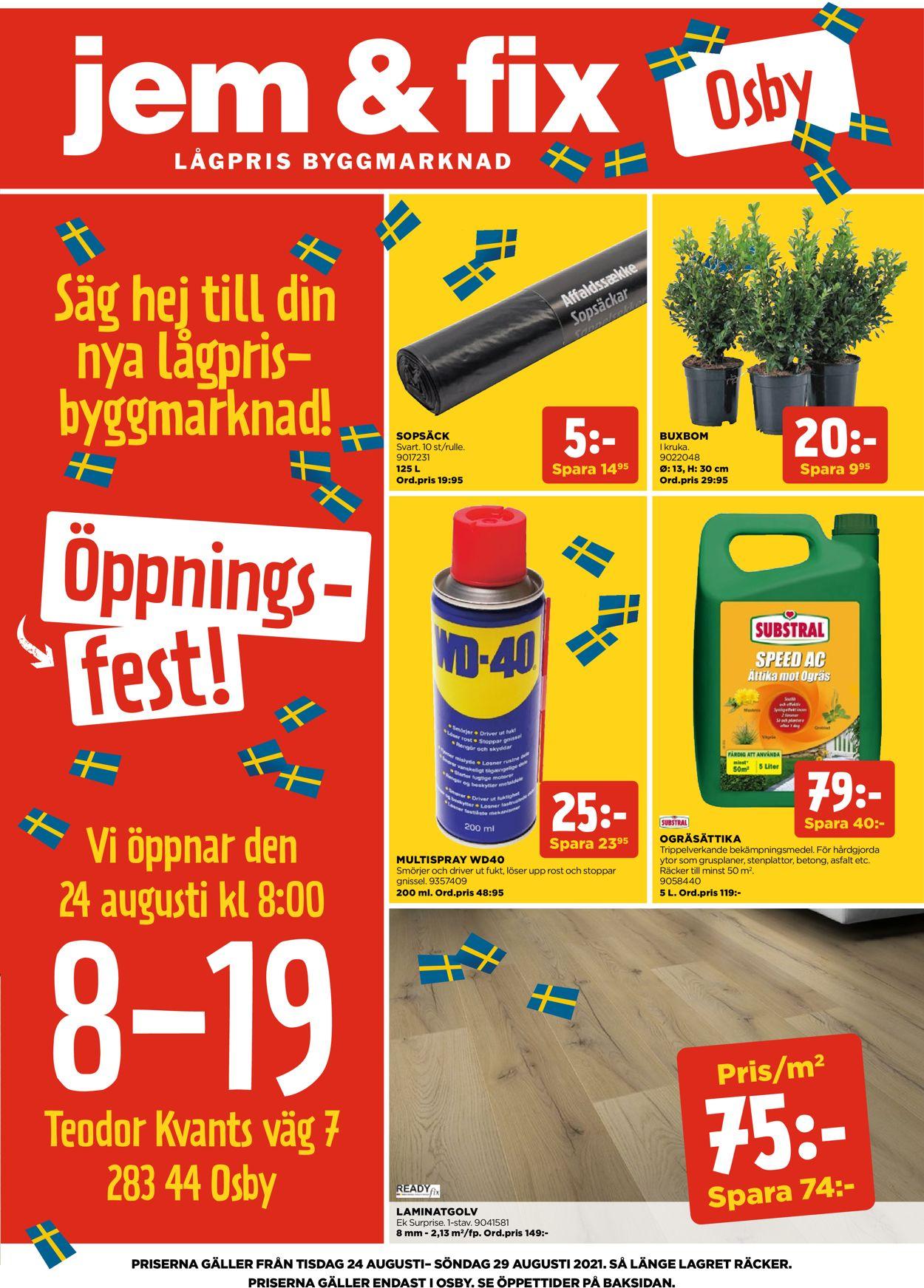 Reklamblad Jem & Fix från 24/08-2021